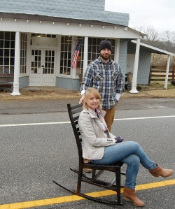 WLM - Matt and Melissa Alexander of Cainsville model their HollerDesign Southern Rocker in front of their workshop