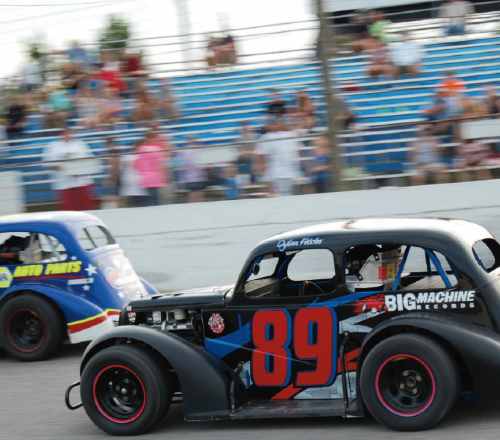 In his Legends car #89, 14-year-old Dylan Fetcho sprints around the quarter-mile banked asphalt track at Highland Rim Speedway on a Saturday night in July.